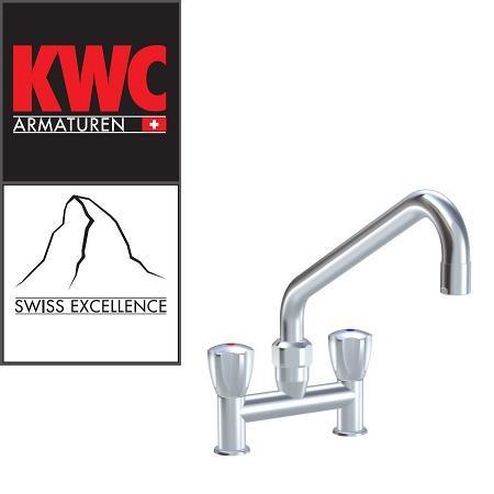 """KWC Gastro K.24.42.E3.000C35 3/4"""" Zweigriffarmatur - Zweiloch - stark erhöhter Auslauf - gerade"""